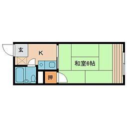 奈良県橿原市久米町の賃貸アパートの間取り