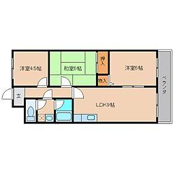 奈良県大和高田市東三倉堂町の賃貸マンションの間取り