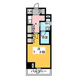 プラウドフラット菊川 7階1Kの間取り