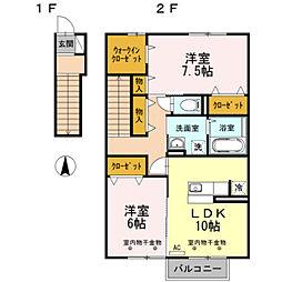 富山県富山市向新庄町2丁目の賃貸アパートの間取り