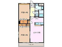 メゾン・ド・アンジュ A棟[2階]の間取り