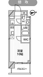 都営浅草線 高輪台駅 徒歩5分の賃貸マンション 7階ワンルームの間取り