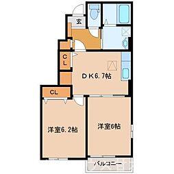 甘木鉄道 山隈駅 徒歩14分の賃貸アパート 1階2DKの間取り