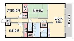 JR姫新線 余部駅 徒歩15分の賃貸マンション 5階3LDKの間取り