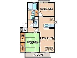 京都府宇治市五ケ庄新開の賃貸アパートの間取り