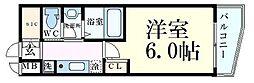 エステムコート梅田・茶屋町IIIネクスタ 3階1Kの間取り