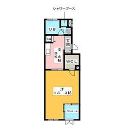 レインボーカーサ内田橋[2階]の間取り