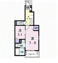 広島高速交通アストラムライン 上安駅 徒歩5分の賃貸アパート 1階1SKの間取り