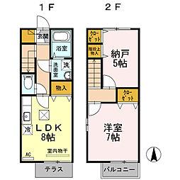 [テラスハウス] 東京都昭島市田中町2丁目 の賃貸【/】の間取り