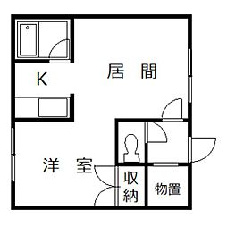コートハウス愛宕B棟 1階1DKの間取り