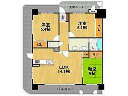 兵庫県伊丹市中央6丁目の賃貸マンションの間取り