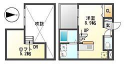 愛知県名古屋市中川区松葉町2丁目の賃貸アパートの間取り