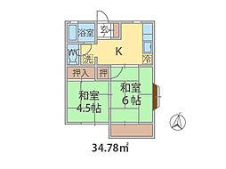千葉県船橋市金杉の賃貸アパートの間取り