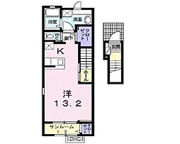 伊予鉄道市駅線 勝山町駅 徒歩16分の賃貸アパート 2階1Kの間取り