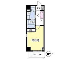 都営大江戸線 赤羽橋駅 徒歩4分の賃貸マンション 4階1Kの間取り