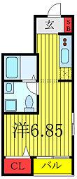 キュリオスコート西尾久 3階ワンルームの間取り