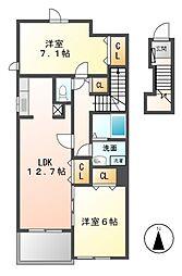 愛知県名古屋市緑区相原郷1丁目の賃貸アパートの間取り
