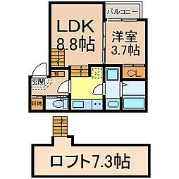 名鉄名古屋本線 東枇杷島駅 徒歩9分の賃貸アパート 2階1LDKの間取り