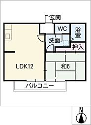 ビーライン篭田[2階]の間取り