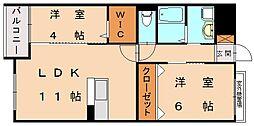 シャングリラ天神[2階]の間取り