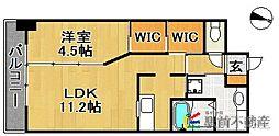 JR久大本線 久留米大学前駅 徒歩3分の賃貸マンション 3階1LDKの間取り