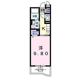 JR宇野線 大元駅 徒歩4分の賃貸マンション 2階1Kの間取り