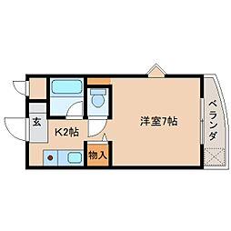 奈良県奈良市佐紀町の賃貸マンションの間取り