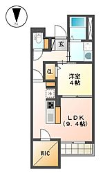 ぱ〜くたうんルナ名古屋[3階]の間取り