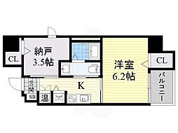 南海高野線 堺東駅 徒歩15分の賃貸マンション 9階1SKの間取り
