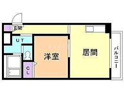 藤井マンション 2階1LDKの間取り
