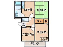 京都府京都市山科区音羽珍事町の賃貸アパートの間取り