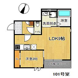 西鉄貝塚線 西鉄千早駅 徒歩5分の賃貸アパート 1階1LDKの間取り