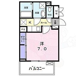 クレスト神崎川 2階1Kの間取り