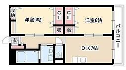 愛知県名古屋市瑞穂区玉水町1丁目の賃貸マンションの間取り