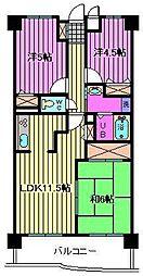 ビエラコート武蔵浦和[5階]の間取り