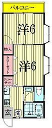 千葉県松戸市根木内の賃貸アパートの間取り