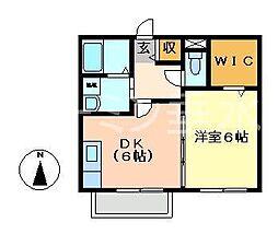 兵庫県明石市東野町の賃貸アパートの間取り