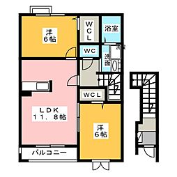 サンリットレジデンスA・B[2階]の間取り
