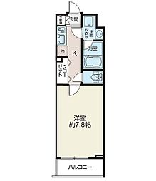 リシェス西早稲田 4階1Kの間取り