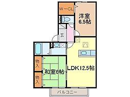 静岡県富士市川成新町の賃貸アパートの間取り