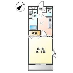 JR宇野線 茶屋町駅 3.5kmの賃貸アパート 1階1Kの間取り