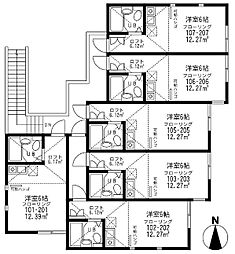 神奈川県川崎市幸区小倉の賃貸アパートの間取り