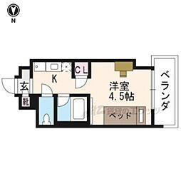 阪急京都本線 西京極駅 徒歩12分の賃貸マンション 2階ワンルームの間取り