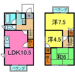 [テラスハウス] 兵庫県加古川市加古川町河原 の賃貸【/】の間取り