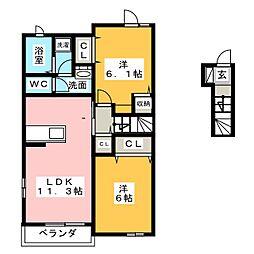 ジェルビーC[2階]の間取り