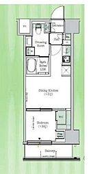 東京メトロ東西線 東陽町駅 徒歩23分の賃貸マンション 6階1DKの間取り