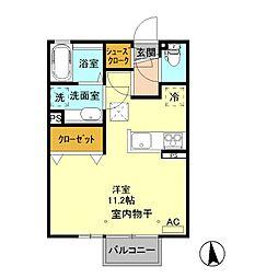 ディアコート エヌII 2階ワンルームの間取り