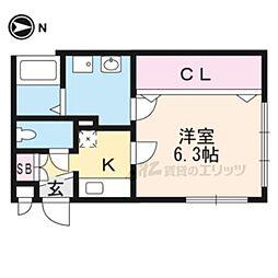 グレース西ノ京 2階1Kの間取り