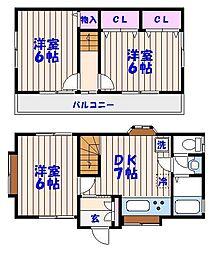 [一戸建] 千葉県市川市末広1丁目 の賃貸【/】の間取り