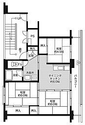 ビレッジハウス平沼ノ内2号棟 5階3DKの間取り